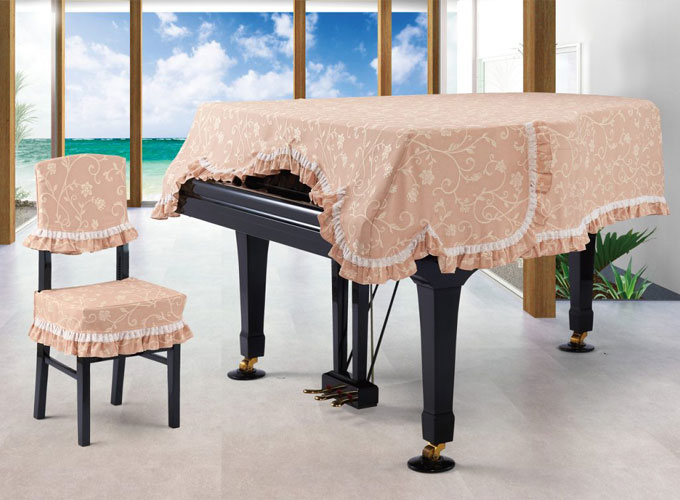 アルプス グランドピアノカバー G-RU ローズピンク系花柄 ジャガードタイプ ピアノカバー