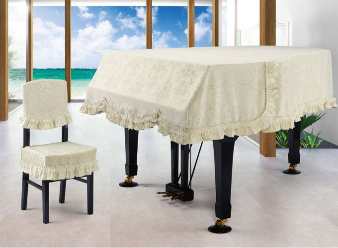 アルプス グランドピアノカバー G-VX アイボリー系ダマスク柄 ジャガードタイプ ピアノカバー