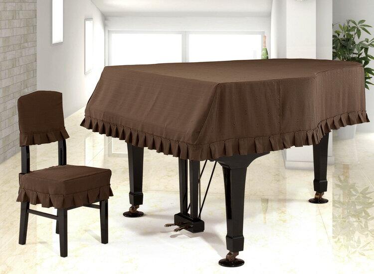 【送料無料】 アルプス グランドカバー・ジャガード G-TB グランドピアノ用ブラウン系ドット&音符ボーダー柄 ジャガードタイプ ※サイズによって価格が変わります。ご注文後に価格を訂正いたします。 ※椅子用カバーは別売りです。