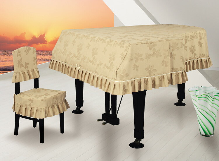 【送料無料】 アルプス グランドカバー・ジャガード G-RB グランドピアノ用ベージュ 地模様リーフ柄 リーフジャガードタイプ【オーダー品】 ※サイズによって価格が変わります。ご注文後に価格を訂正いたします。 ※椅子用カバーは別売りです。