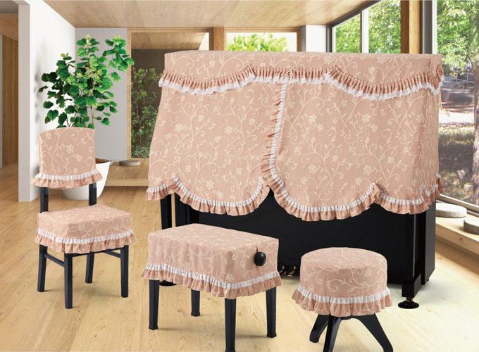 アルプス アップライトピアノ用ハーフカバー H-RU ローズピンク系花柄 ジャガードタイプ ピアノカバー