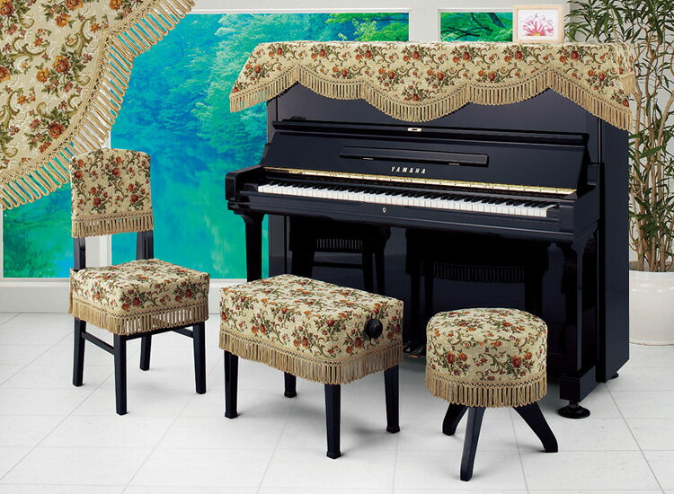 アルプス トップカバー TG-68 アップライトピアノ用グランドベージュ花柄 インポートタイプ ピアノカバー 【お買い得!!】※椅子用カバーは別売りです。