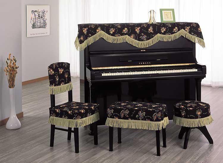 アルプス トップカバー TG-70 アップライトピアノ用ブラックフルーツ柄 インポートタイプ ピアノカバー※椅子用カバーは別売りです。