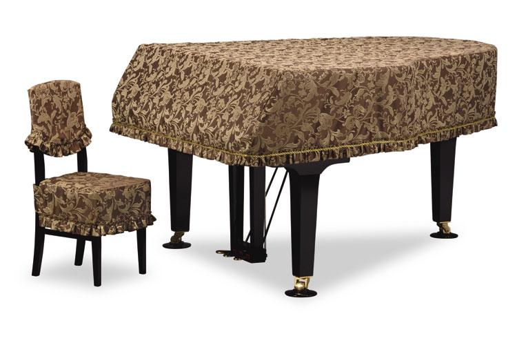 吉澤 グランドピアノカバー GP-601BR ダークブラウン系 ヨーロピアンクラシック柄ジャガード織 【受注生産】 ピアノカバー