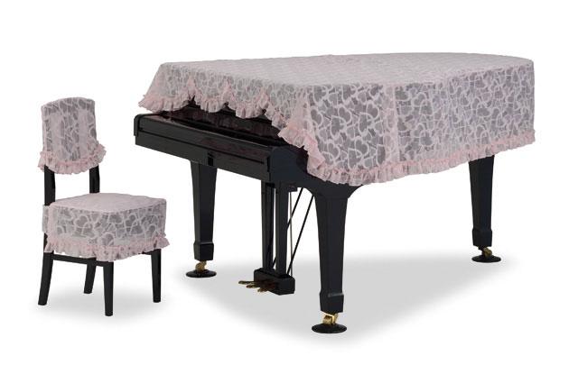 吉澤 グランドピアノカバー GP-735HP ハート柄バリカンレース ピンク ピアノカバー