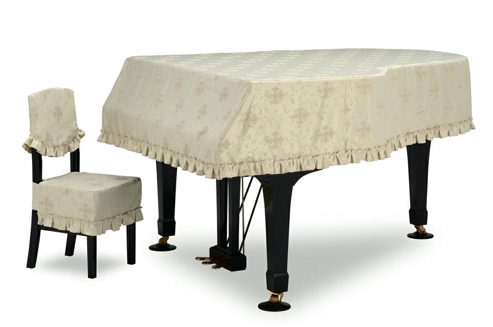 吉澤 グランドピアノカバー GP-686TG ト音エンブレム柄ジャガード織 ライトグリーン 【受注生産】 ピアノカバー