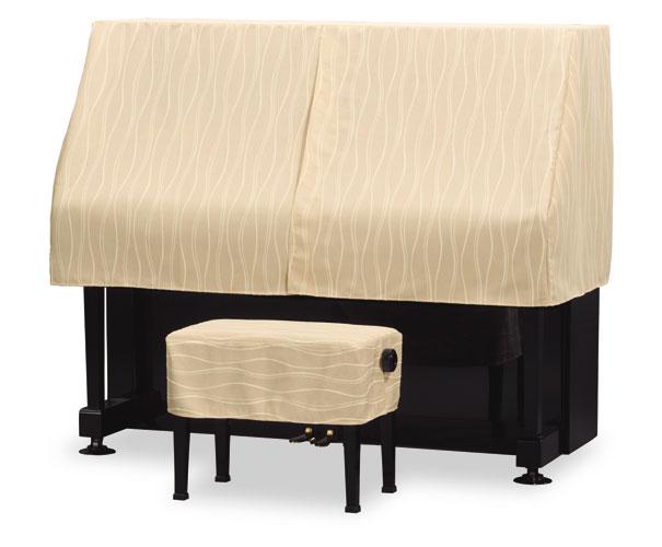 吉澤 アップライトピアノ用ハーフカバー(ピアノケープ) PC-694BB コード柄ジャガード織 ブラウンベージュ ピアノカバー