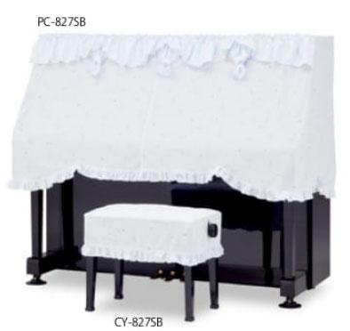吉澤 アップライトピアノ用ハーフカバー(ピアノケープ) PC-827SB 音符スターダスト柄レース ブルー ピアノカバー