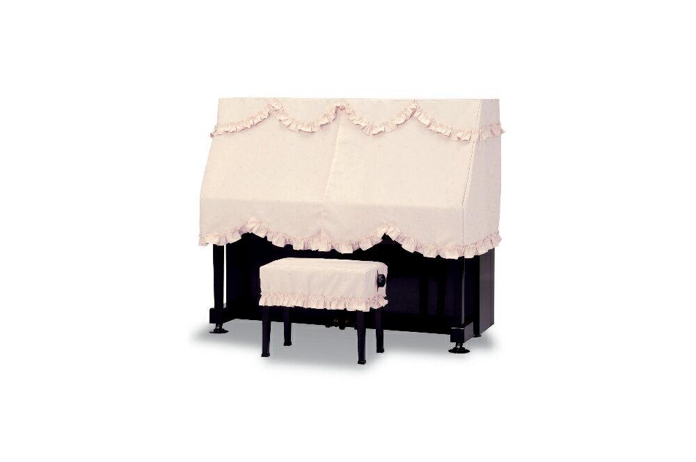 【送料無料】 吉澤 ハーフカバー(ピアノケープ) PC-528CP ピンク 音符&クローバー柄 アップライトピアノ用ピアノカバー ※サイズによって価格が変わります。ご注文後に価格を訂正いたします。 ※椅子用カバーは別売りです。