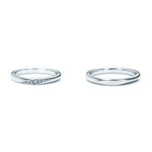 【ペアリング2本1組ダイヤあり*ダイヤなし】 NINA RICCI ニナリッチ ウェディングリング TORSADE 6R1B04/6R1B03 P 結婚指輪(マリッジリング)