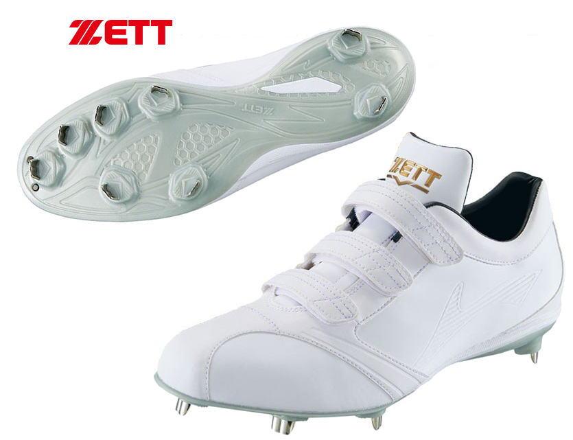 ゼット ZETT 野球 スパイク BSR2786WMB 高校野球対応白スパイク 3本マジックベルト 埋込み金具 スーパーグランドジャック 限定品 縫いP可 送料無料【0125】