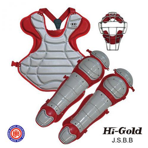 送料無料 JSBB公認 軟式野球用 キャッチャーセット HI-GOLD グレー×レッド