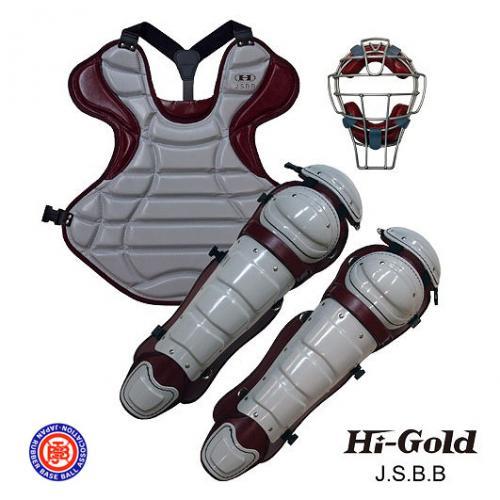 送料無料 JSBB公認 軟式野球用 キャッチャーセット HI-GOLD グレー×エンジ