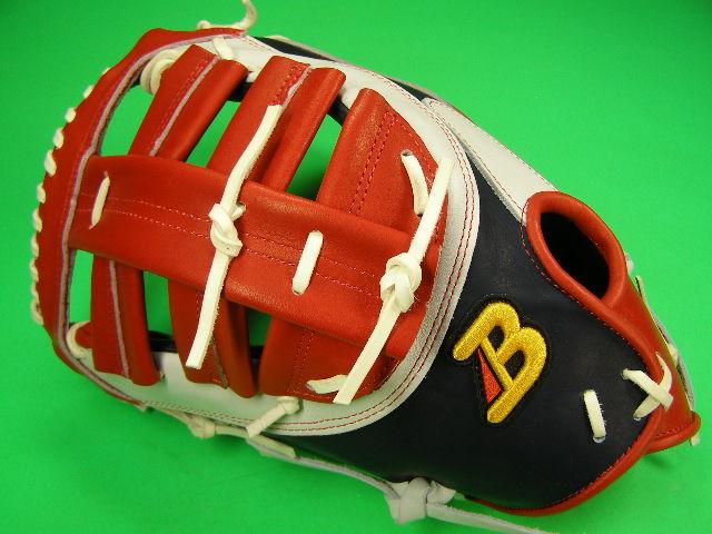 型付け無料 ベルガード BELGARD 左投げ用 アメリカンスタイル ファーストミット ネイビー×ホワイト×レッド 野球・ソフト兼用