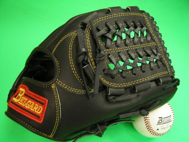 送料無料!型付け加工無料 ベルガード BELGARD 内野用 ブラック×イエロー糸 野球ソフトボール兼用 硬式野球対応
