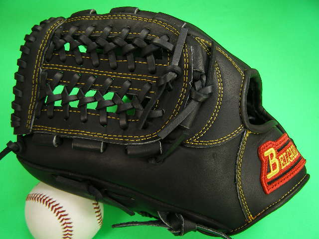 送料無料!型付け加工無料 ベルガード BELGARD 左投げ用 内野用 ブラック×イエロー糸 野球ソフトボール兼用 硬式野球対応