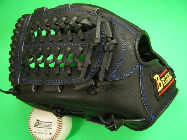 送料無料!型付け加工無料 ベルガード BELGARD 左投げ用 内野用 ブラック×ブルー糸 野球ソフトボール兼用 軟式M号球 ソフトボールにおすすめ