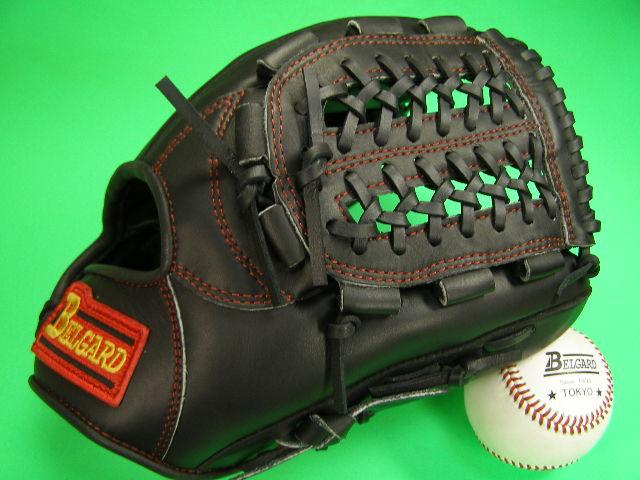 送料無料!型付け加工無料 ベルガード BELGARD 内野用 ブラック×レッド糸 野球ソフトボール兼用 硬式野球対応