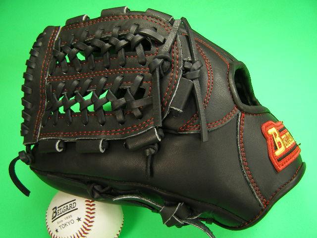 送料無料!型付け加工無料 ベルガード BELGARD 左投げ用 内野用 ブラック×レッド糸 野球ソフトボール兼用硬式野球対応