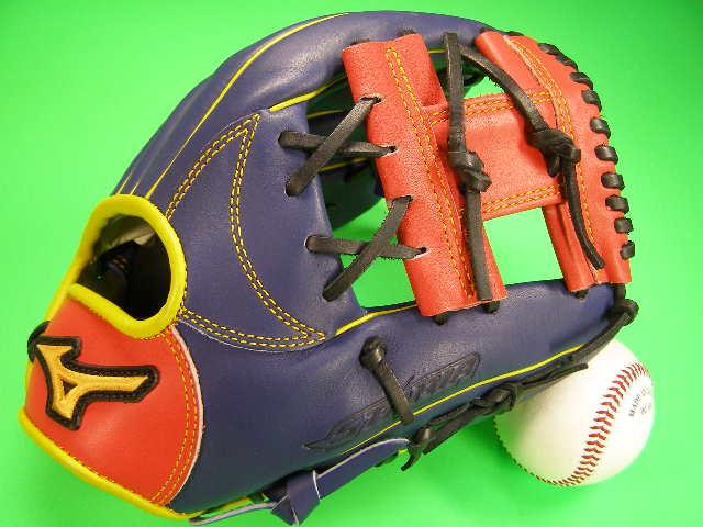 型付け無料 ミズノ MIZUNO 海外モデル 内野用 ネイビー×オレンジ×イエロー 小さめサイズ ソフトボール・野球兼用
