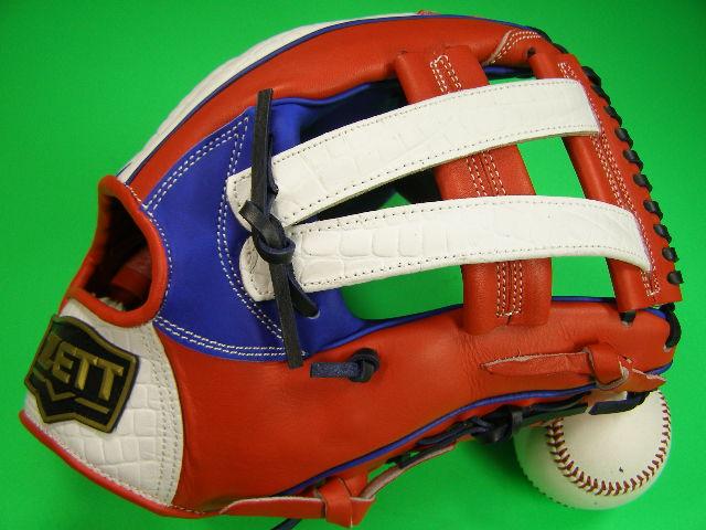 型付け無料 ゼット ZETT 海外モデル 硬式対応 オールラウンド用 レッド×ブルー×ホワイト ワニ革風 野球ソフト兼用