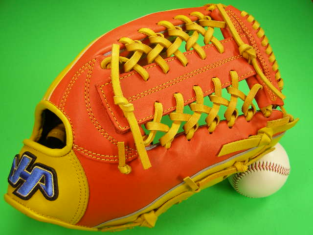 SALENEW大人気! 型付け無料 新作多数 HATAKEYAMA ハタケヤマ海外モデル 限定商品です ハタケヤマ 海外モデル オレンジ×イエロー 外野用 ソフトボール 軟式 M号球 硬式野球対応