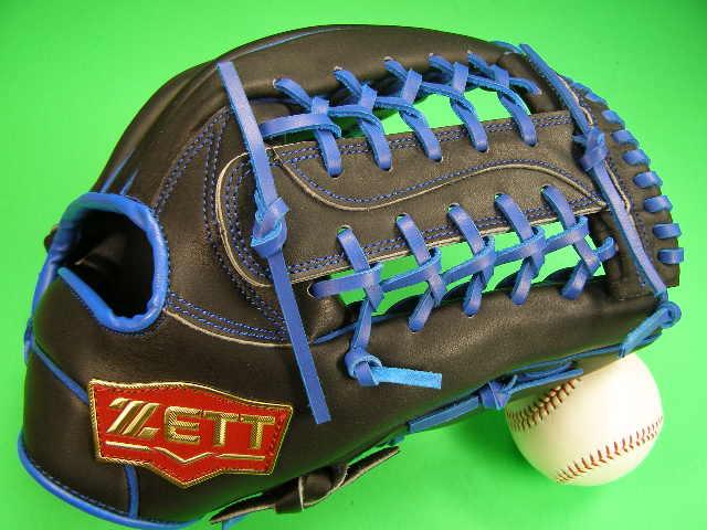 型付け無料 ゼット ZETT 海外モデル 外野用 ブラック×ブルー Tネット PRO MODEL プロモデル 外野 グローブ 野球 ソフト M号球
