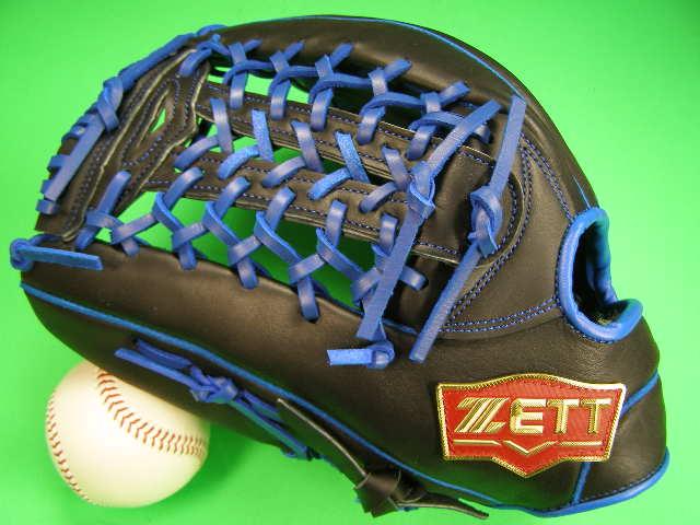 型付け無料 ゼット ZETT 海外モデル 左投げ用 外野用 ブラック×ブルー Tネット2 PRO MODEL プロモデル 外野 グローブ 野球 ソフト M号球