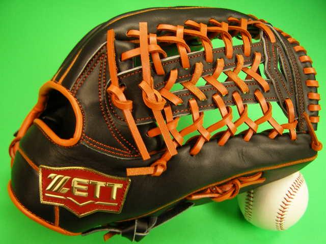 型付け無料 ゼット ZETT 海外モデル 外野用 ブラック×オレンジ Tネット2 PRO MODEL プロモデル 外野 グローブ 野球 ソフト M号球