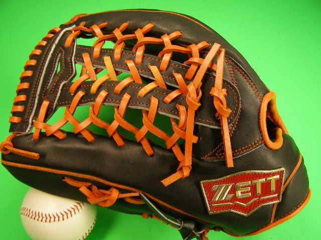 型付け無料 ゼット ZETT 海外モデル 左投げ用 外野用 ブラック×オレンジ Tネット2 PRO MODEL プロモデル 外野 グローブ 野球 ソフト M号球