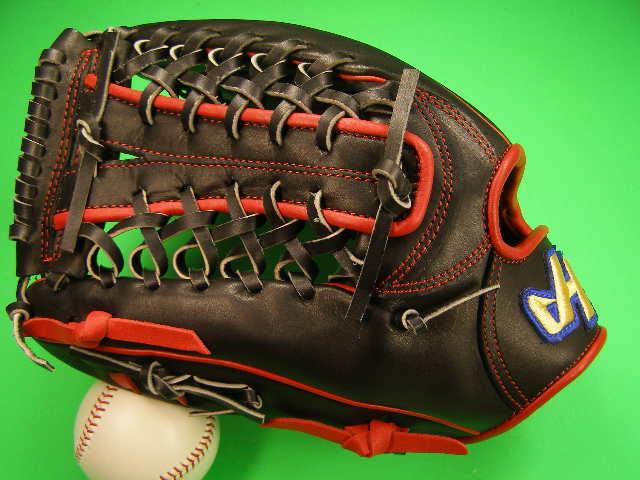 型付け無料 HATAKEYAMA ハタケヤマ 海外モデル 左投げ用 外野用 硬式用 ブラック×レッド 12.5インチ 内野 硬式 ソフトボール