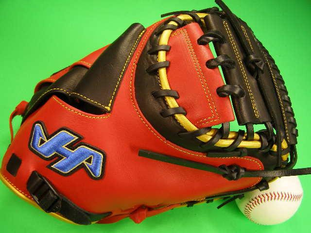 送料無料 型付け無料 ハタケヤマ HATAKEYAMA 海外モデル 硬式野球対応 キャッチャーミット レッド×ブラック×ゴールド 硬式 軟式 M号球 キャッチャー ミット