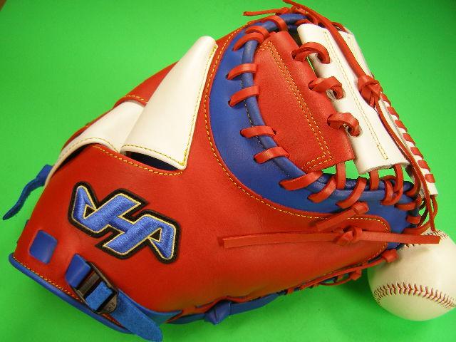 送料無料 型付け無料 ハタケヤマ HATAKEYAMA 海外モデル 硬式野球対応 キャッチャーミット レッド×ホワイト×ブルー 硬式 軟式 M号球 キャッチャー ミット