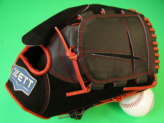 送料無料 型付け無料 ゼット ZETT 海外モデル 投手用 ブラック×レッドヒモ バックスキン採用 硬式野球対応 裏革 ピッチャー グローブ 硬式 軟式 M号 ソフト