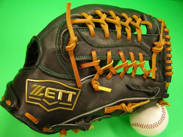 型付け済み ゼット ZETT 海外モデル 硬式用 外野用 ブラック×タンヒモ 高校野球対応カラー 硬式 ソフト グローブ グラブ