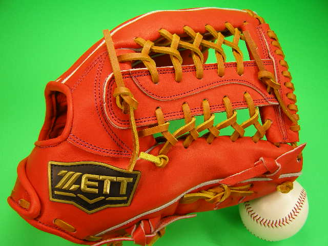 型付け済み ゼット ZETT 海外モデル 硬式用 外野用 オレンジ×タンヒモ 高校野球対応カラー 硬式 ソフト グローブ グラブ