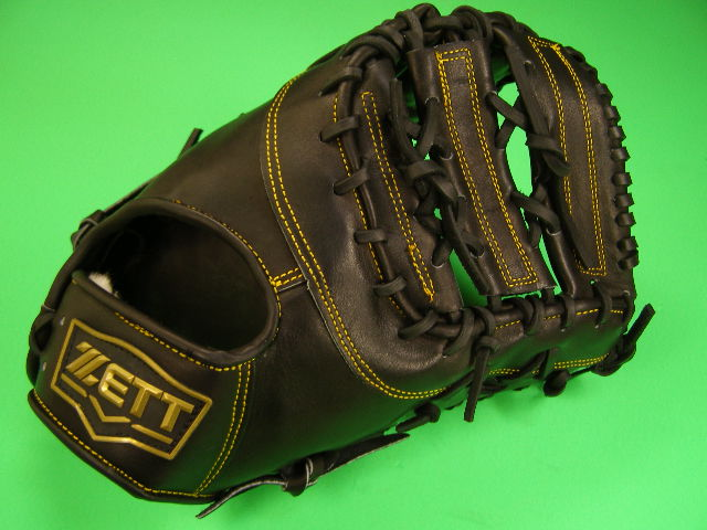 送料無料 型付け加工済み ゼット ZETT 海外モデル 硬式用 ファーストミット ブラック×イエロー糸 高校野球対応カラー 硬式 ファースト ミット