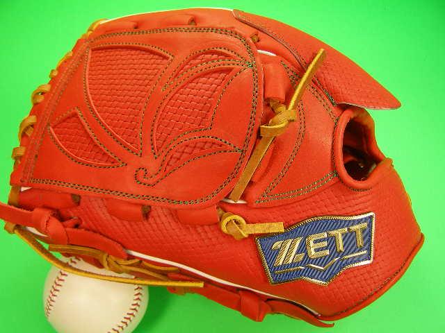 送料無料 型付け無料 ゼット ZETT 海外モデル 左投げ用 投手用 オレンジ×タン 硬式野球対応 型押し革 ピッチャー グローブ 硬式 軟式 M号 ソフト