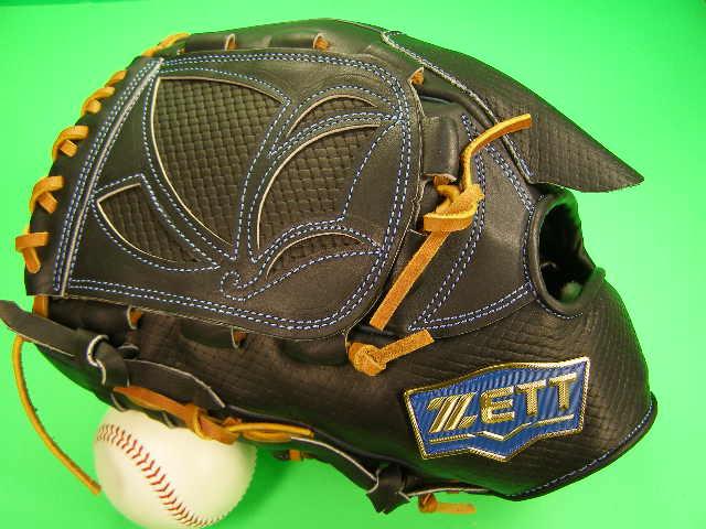 送料無料 型付け無料 ゼット ZETT 海外モデル 左投げ用 投手用 ブラック×タン 硬式野球対応 型押し革 ピッチャー グローブ 硬式 軟式 M号 ソフト