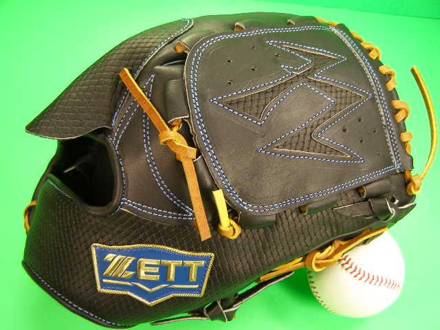 送料無料 型付け無料 ゼット ZETT 海外モデル 投手用 ブラック×タンヒモ 硬式野球対応 型押し革 ピッチャー グローブ 硬式 軟式 M号 ソフト