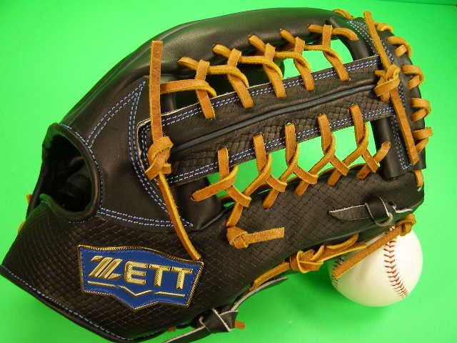 型付け無料 ゼット ZETT 海外モデル 外野用 ブラック×タンヒモ 硬式野球対応 型押し革 外野 グローブ 硬式 軟式 M号 ソフト