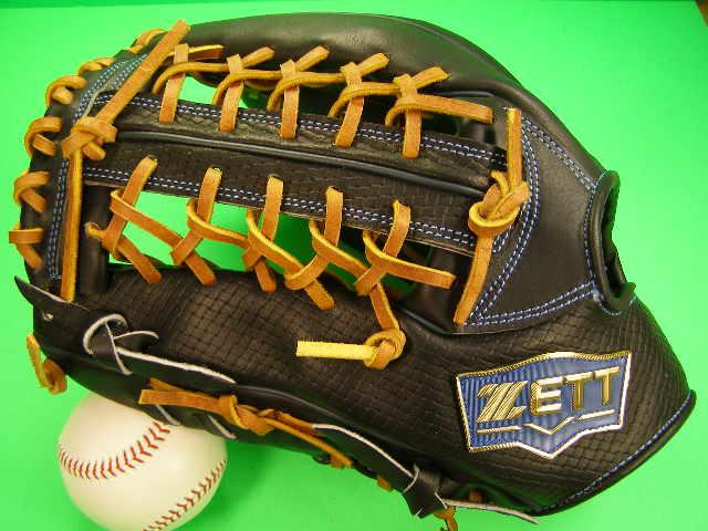 送料無料 型付け無料 ゼット ZETT 海外モデル 左投げ用 外野用 ブラック×タンヒモ 硬式野球対応 型押し革 外野 グローブ 硬式 軟式 M号 ソフト