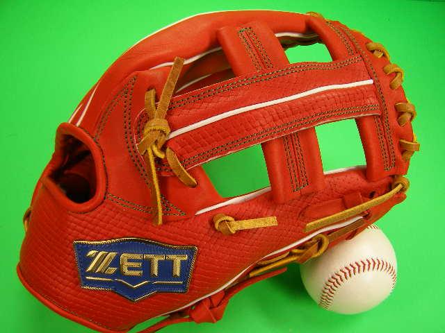 送料無料 型付け無料 ゼット ZETT 海外モデル 内野用 オレンジ×タンヒモ 硬式野球対応 11.5インチ 型押し革 内野 グローブ 硬式 軟式 M号 ソフト