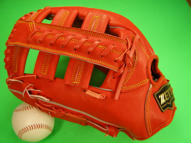 型付け無料 ゼット ZETT 海外モデル 左投げ用 硬式用 外野用 オレンジ ダブルクロスウェブ PRO MODEL GOLD LINE QOALITY 高校野球対応カラー 外野