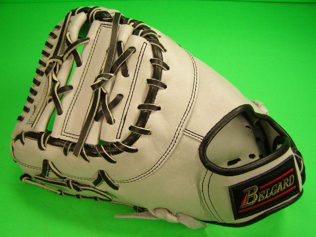 型付け無料 ベルガード BELGARD 海外モデル 硬式用 左投げ用 ファーストミット ホワイトグレー×ブラックヒモ 野球 ソフトボール