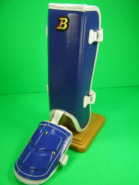 フットガードならベルガード メーカー直送 プロ選手使用レベルです ベルガード BELGARD FG912 即出荷 フットガード レッグガード ロングタイプ ダークブルー×ホワイト プロ仕様合皮巻きタイプ