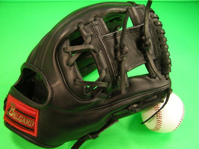 送料無料!型付け済み ベルガード BELGARD 硬式用 内野用 ブラック 高校野球対応 アメリカンスタイル