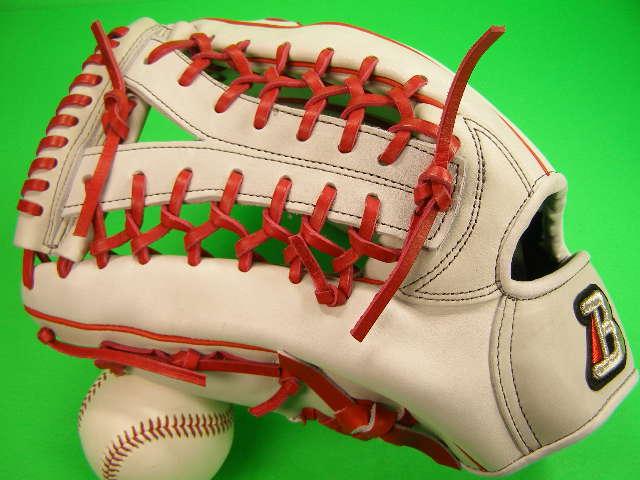 送料無料! 型付け無料 ベルガード BELGARD 左投げ用 外野手用 ホワイト×グレー×レッド 軟式 ソフトボール