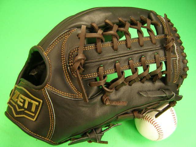 送料無料 型付け無料 ゼット ZETT 硬式用 外野用 小さめ ブラック×ブラウンヒモ GOLD LINE QOALITY 高校野球対応カラー 海外モデル 硬式 グローブ