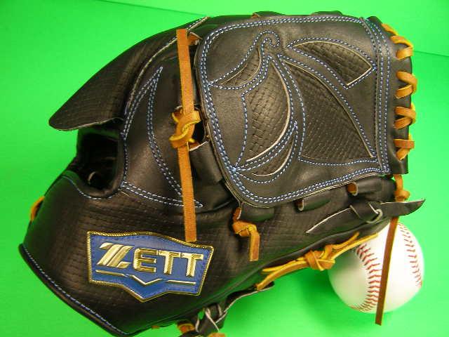 送料無料 型付け済み ゼット ZETT 海外モデル 投手用 ブラック×タン 硬式野球対応 型押し革 ピッチャー グローブ 硬式 軟式 M号 ソフト